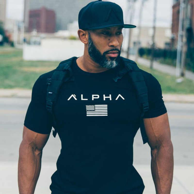Homens de manga curta algodão camiseta casual preto impressão t camisa ginásio fitness musculação treino camisetas topos masculino verão marca roupas