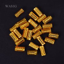 34pcs/pack Gold Plated Hair Braid Dreadlock Beads Adjustable Braids Cuff Clip 8MM Hole Micro Ring Bead DIY Hairstyling(China)