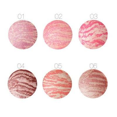 50Pcs/Lot Focallure Baked Blush Face Maquiagem Soft Smooth Mineralize Makeup Blush Palette Bronzer Blusher 6 colors for Choose