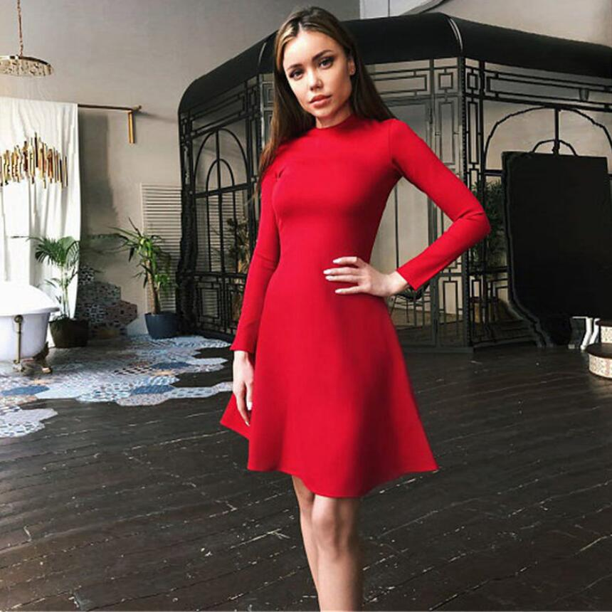 Fall Fashion 18 Women Long Sleeve Bodycon O-neck Casual Dress Winter Vintage Sexy Mini Party Dresses Autumn Clothes Vestidos 3