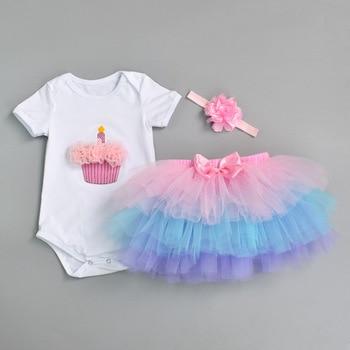 92f1be175 Ropa de fiesta de flores recién nacido 2019 conjunto de bebé niña un año  Primer Cumpleaños tutú trajes para niñas tul niño ropa de bebé traje