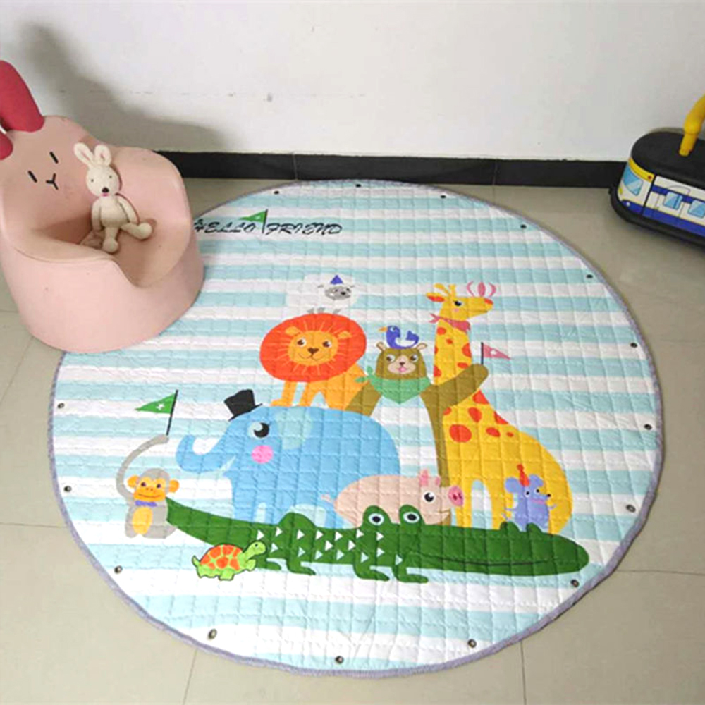 Animal Printed Round Kids Rug Toys Childrens Carpet Baby Play Mat Soft Developing Mat Rug Puzzle Play Mat Storage Bag Toy 150cmAnimal Printed Round Kids Rug Toys Childrens Carpet Baby Play Mat Soft Developing Mat Rug Puzzle Play Mat Storage Bag Toy 150cm
