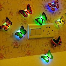 Lovely Butterfly LED Night Light Color Changing Lamp Beautiful Home Decorative Wall Nightlights Random
