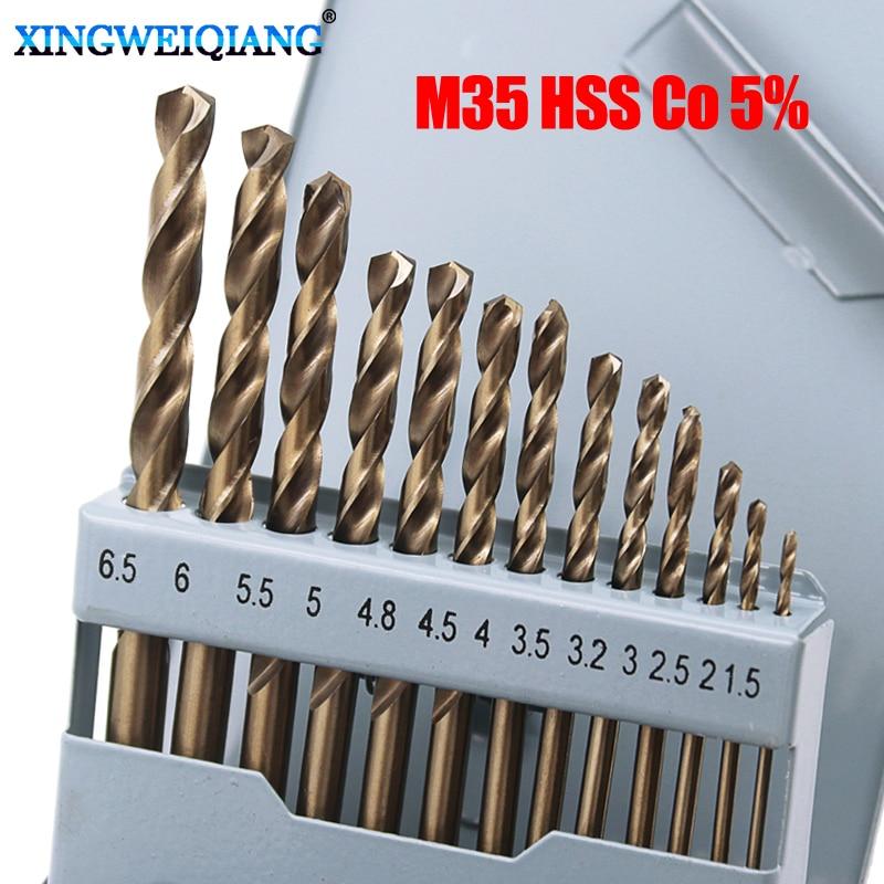 13pcs Cobalt Drill Bits For Metal Wood Working M35 HSS Co 5% Steel Straight Shank 1.5-6.5mm Twist Drill Bit Power Tools goxawee 10pcs micro hss drill bits 0 5 0 6 0 7 0 8 1 0 1 2 1 5 2 0 2 5 3mm straight twist drill bits electric drill power tools