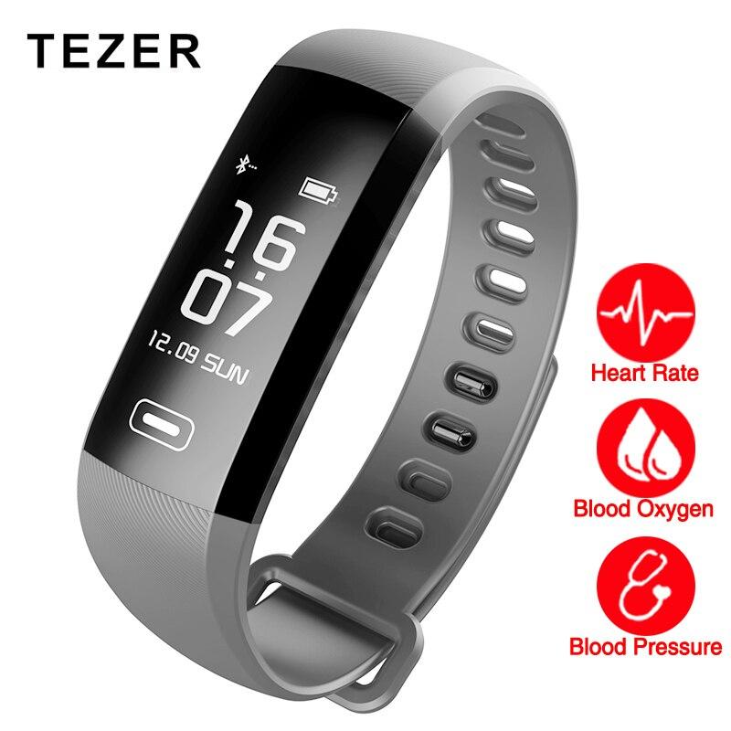 TEZER R5MAX De Fitness inteligente Reloj Pulsera inteligente de la presión arterial de oxígeno de La Sangre del ritmo cardíaco 50 CARTAS APP SMS Mensaje push