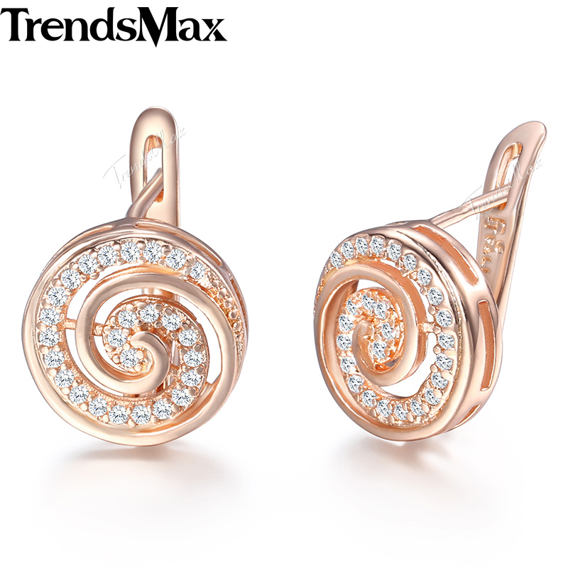 Trendsmax Round Lolipop Shaped Paved CZ Womens Stud Earrings 585 Rose Gold Filled Zircon Fashion Jewelry KGE134