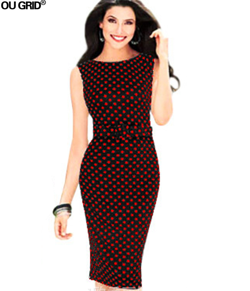 Ladies Office Dress 2018 New Arrivals Sleeveless O-neck Polka Dots - Women's Clothing - Photo 3