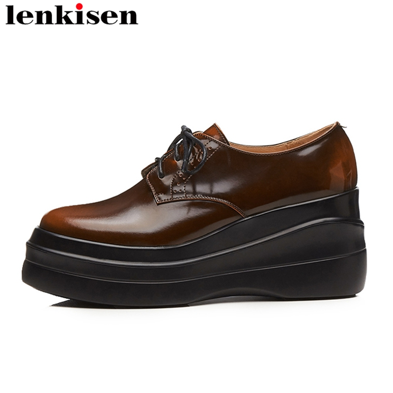 Lenkisen 2018 new fashion round toe lace up genuine leather platform brand causal shoes wedges retro high heels women pumps L81