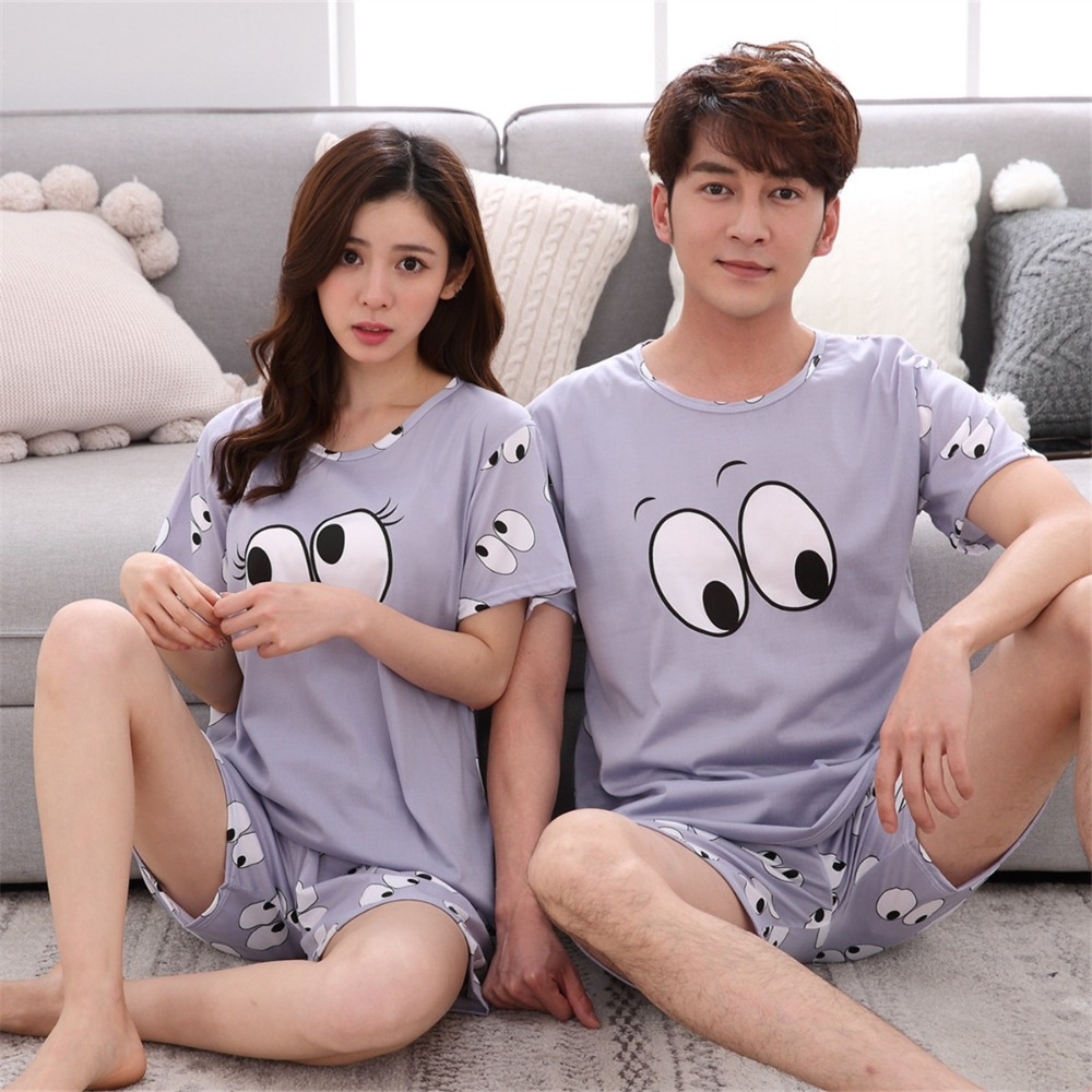 Womens   Pajamas     Sets   2019 Summer Couple Pijama All Above Eyes Print Gray Short-Sleeve Shirts And Shorts Mujer Leisure Pyjamas