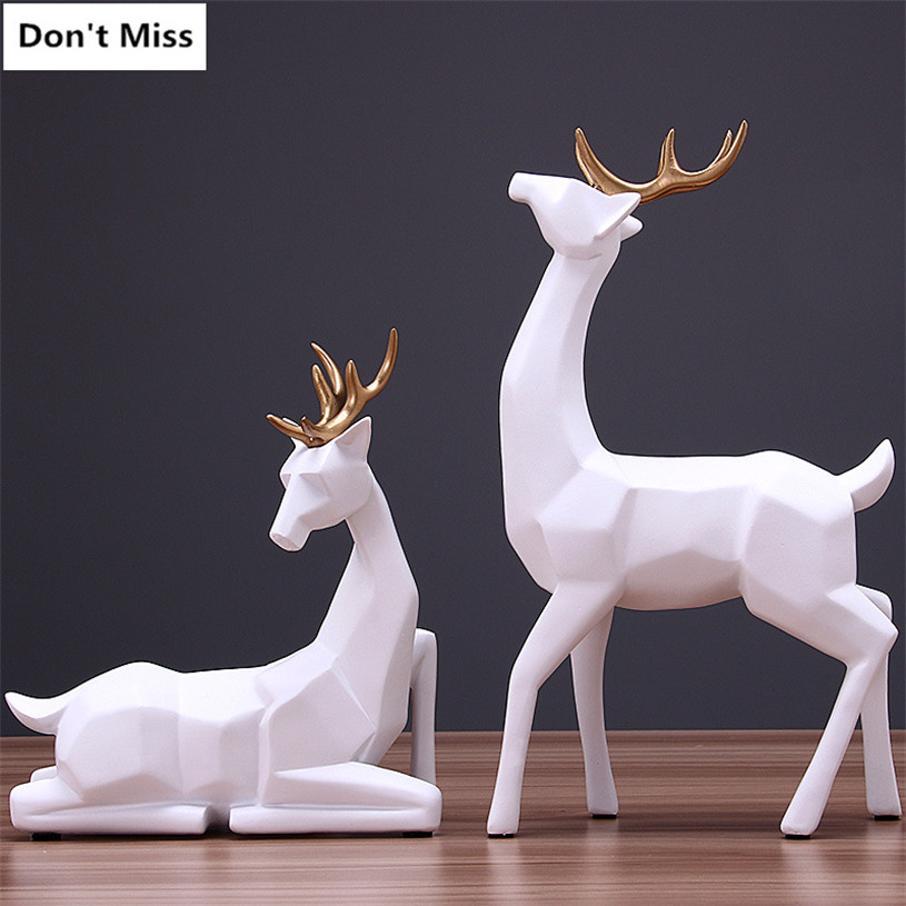Abstract Geometric A Couple of Deer Statue Creative Wedding Gift Animal Statues Garden Elk Sculpture Home Decoration AccessoriesAbstract Geometric A Couple of Deer Statue Creative Wedding Gift Animal Statues Garden Elk Sculpture Home Decoration Accessories