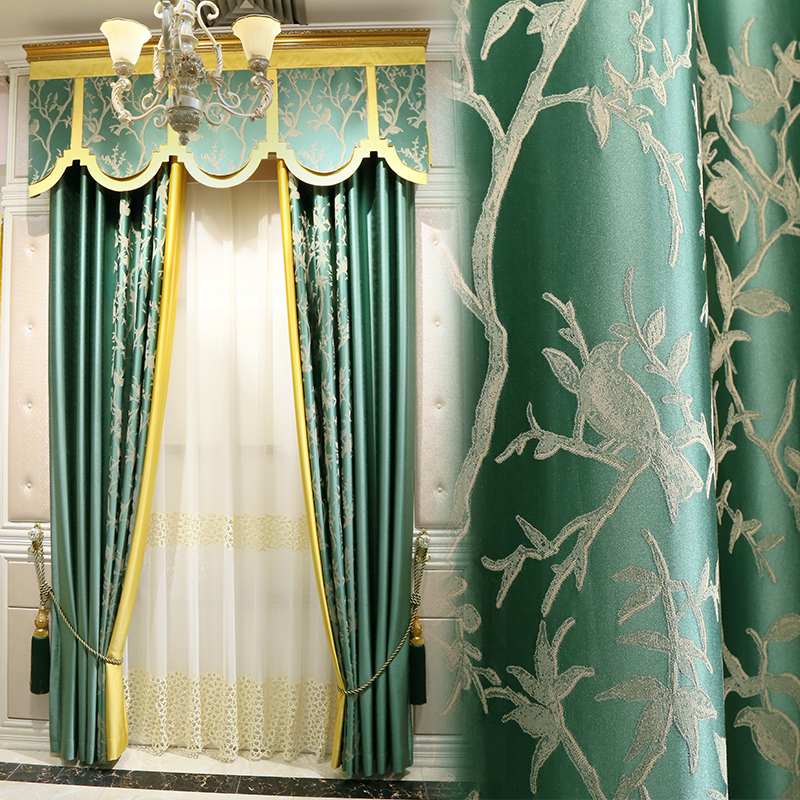 Custom curtains Classic Jacquard splice cotton modern green tree cloth bedroom cloth blackout curtain tulle valance drape M678Custom curtains Classic Jacquard splice cotton modern green tree cloth bedroom cloth blackout curtain tulle valance drape M678