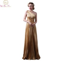 Walk Beside You Real Picture Gold Evening Gowns One Shoulder Floral Crepe Prom Dresses Beaded Vestido