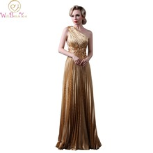 Walk Beside You long Gold Satin Evening Gowns Floral Formal One Shoulder Crepe Prom Dresses Beaded vestido longo de festa com(China)