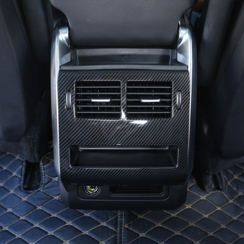 Carbon Fiber Style For Landrover Range Rover Sport RR Sport 2014 2017 ABS Plastic Rear Row AC Outlet Frame Cover Trim