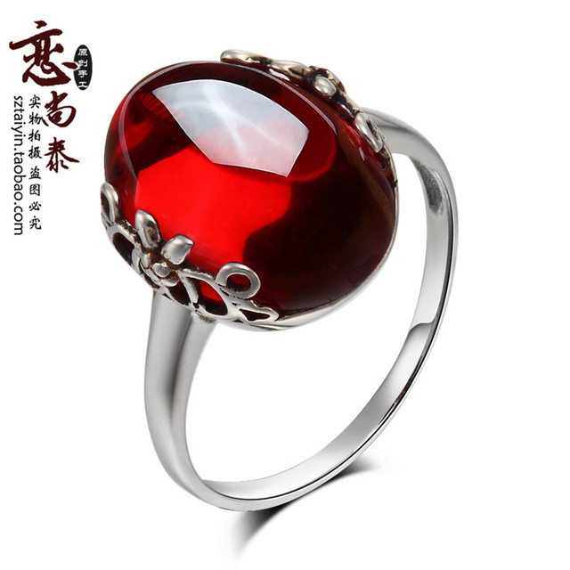 Natural semi-precious stone Garnet the Thai 925 Sterling silver red zircon jade rings red female retro pattern Women jewelry