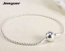 925 sterling silver jewelry Essence thin bracelets fit small hole beads charms necklace DIY bracelets necklaces for wome EYL004(China)