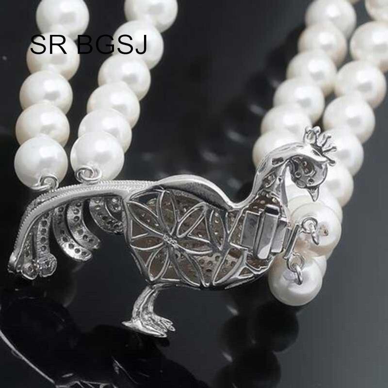 Livraison gratuite en gros bijoux bricolage Micro incrustation Zircon paon 925 argent collier fermoir - 2