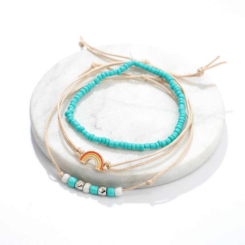 DIEZI Bohemian Handmade Dệt Vòng Chân Bầu Trời Xanh Rope Chain Lá Vòng Chân Cổ Điển Hạt Vòng Đeo Tay Bằng Đá cho Phụ Nữ Đồ Trang Sức
