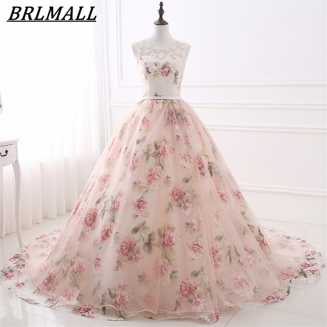 BRLMALL 2017 Trendy Printed flower Wedding Dresses Lace up Ball Gown Lace  appliques Bridal gowns Court Train Vestido De Noiva f7a1f4c227a8