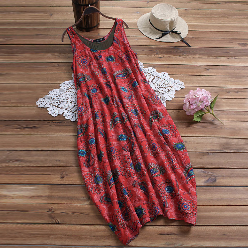 Women Summer Dress Sleeveless Vintage Floral Print Pockets Casual Swing Party Midi Dresses Beach Dress Summer boho dresses NEW