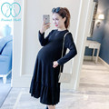 1110# 2017 Spring Knitted Expansion Bottom Maternity Flounce Dress Clothes for Pregnant Women Long Sleeve Pregnancy Vestidos