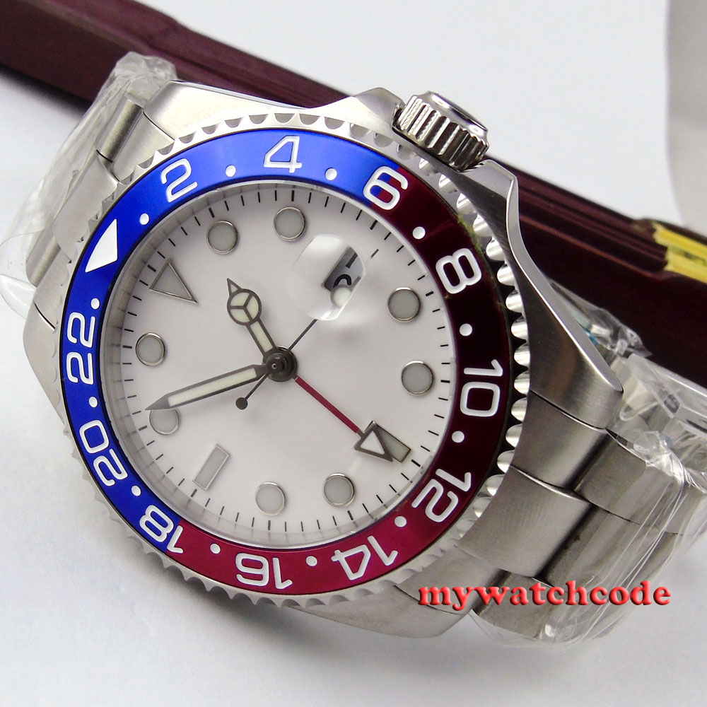 лучшая цена 43mm parnis white sterile dial deployment clasp GMT date window sapphire glass automatic mens watch P358