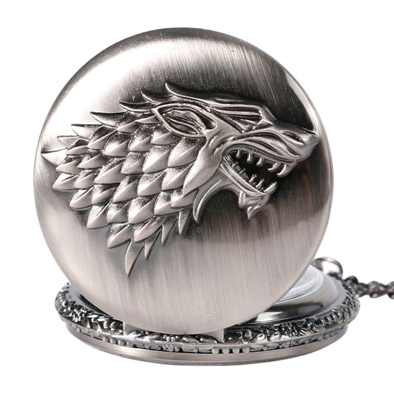 Retro Game of Thrones Stark House Crest Wolf Zilver Brons Quartz - Zakhorloge - Foto 3