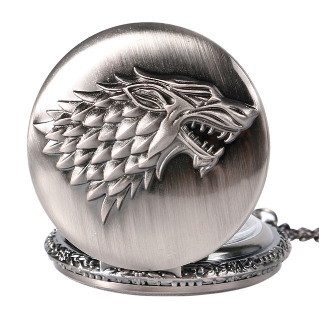 Silver Game of Thrones Stark House Crest Pocket Watch Jewelry