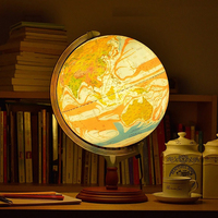 12 Inches LED Geography Earth Nation Star World Mountain Landscape Map Globe Light Metal Wood Base