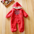 Tiger head niños ropa de moda bebé de la muchacha del invierno 7 a 24 meses velvet espesar manga larga mamelucos ropa de niño con capucha