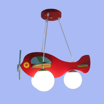 Modern Colorful Wooden Child Kids Cartoon Pendant Light Bedroom Lamp Light Aircraft Airplane Toy Christmas Gift Lamps Lighting