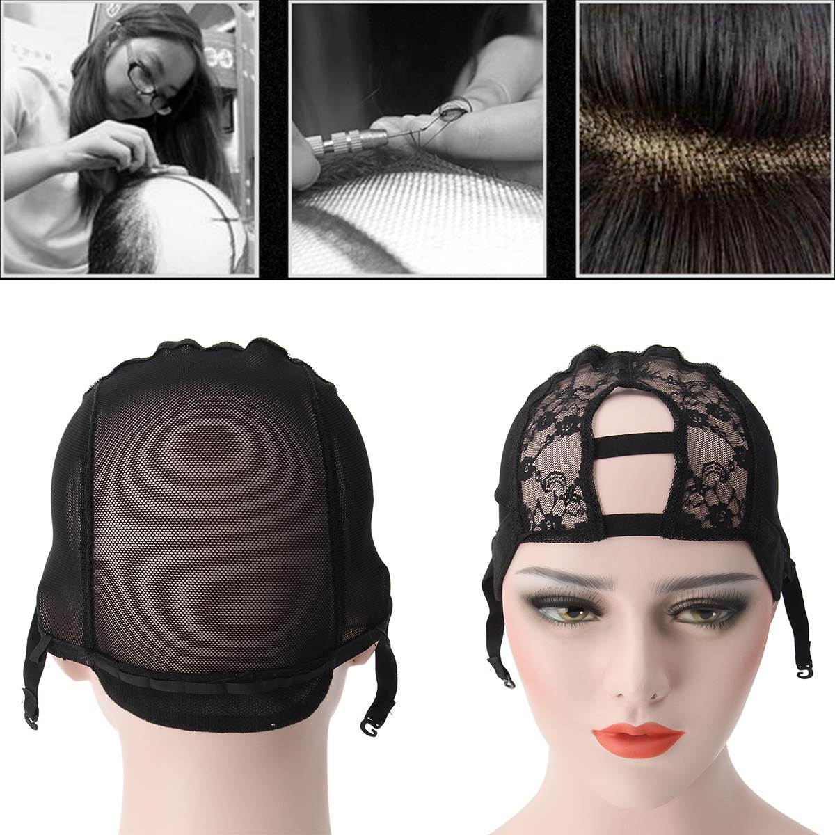 Hair Extensions & Wigs Tools & Accessories Flight Tracker M Size Wig Caps For Making Wigs 3pcs Top Quality Stretch Adjustable Straps Back