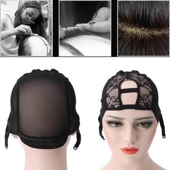 U Part Wig Cap Weaving Glueless Caps Black Mesh Crochet Adjustable Straps Elastic Bands For Making Wigs Hair Extension Weft DIY headpiece
