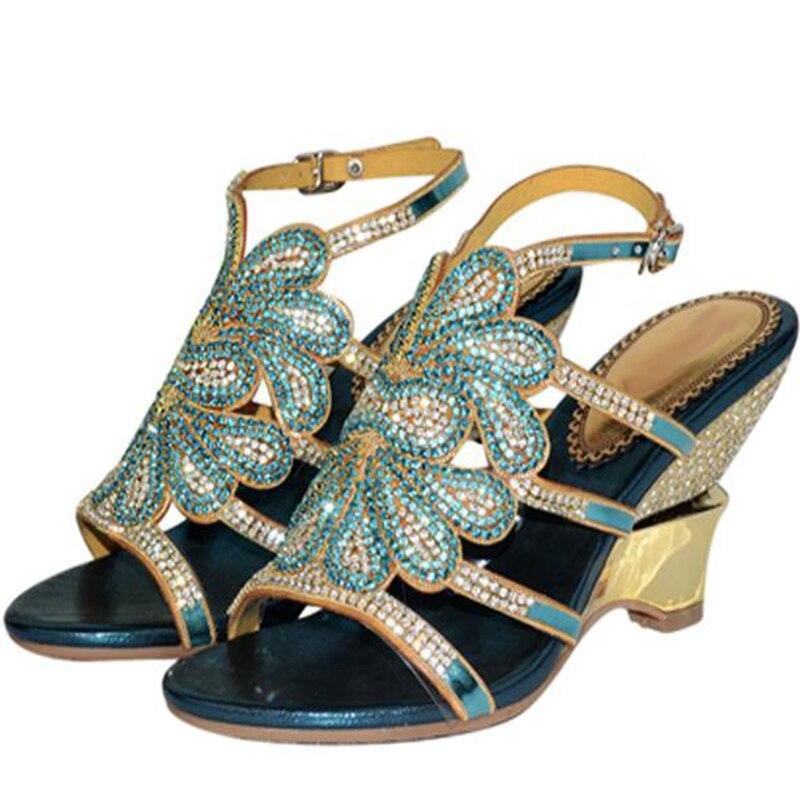 Cuñas Suntuoso Pequeño Tamaño 33 43 Nuevas Las Moda De Grande Alto Azul Verano Corium Tacón Mujeres Sexy 2018 Recorte Sandalias qw67Xfg