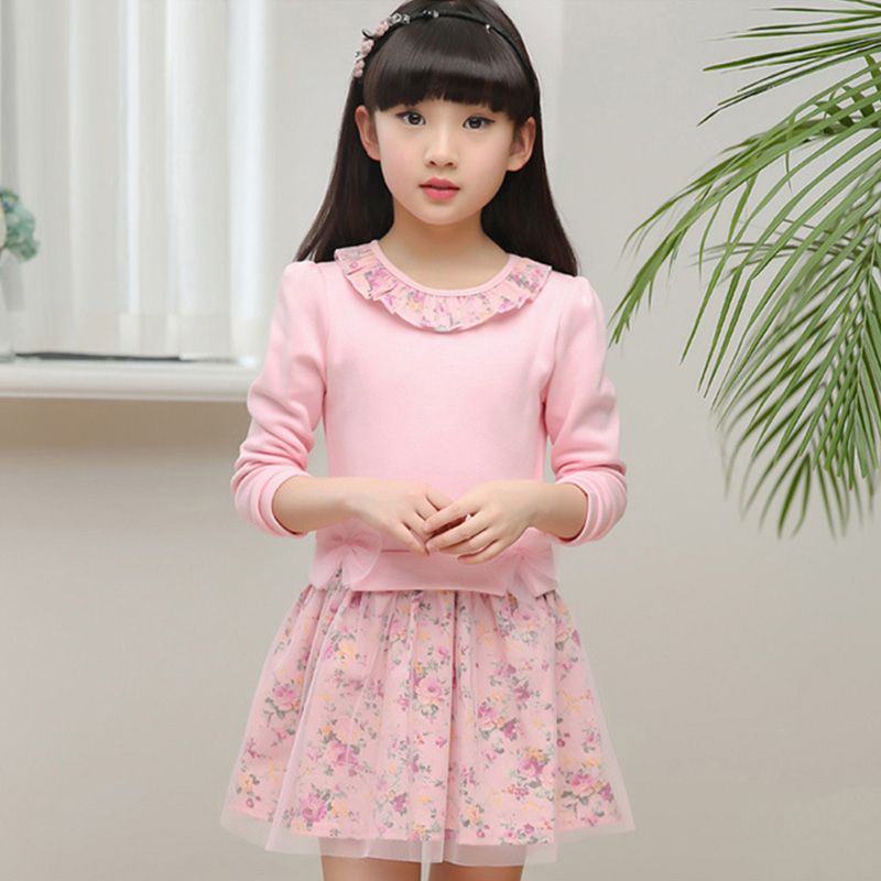 Spring 2018 Kids Baby Girls Floral Dress Little Girl Princess Dress Autumn Summer Big Girls Dresses For 2 3456789 10 11 12 Years summer baby kids dresses children girls long sleeve floral princess dress spring summer dress baby girls clothes dress for girl