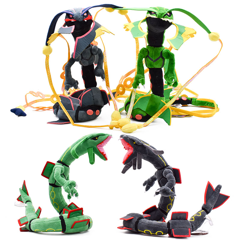4 styles Mega Rayquaza Black Rayquaza Animal Plush Peluche Doll With Skeleton Soft Stuffed Hot Toy Christmas Gift For Children image