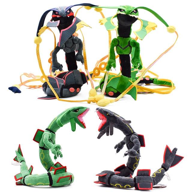 Rayquaza 4 estilos Mega Rayquaza Preto Peluche Boneca Com Esqueleto de Animal de Pelúcia Brinquedo de Pelúcia Macia Quente Presente de Natal Para Crianças