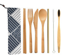 Bamboo Cutlery Set Straw Chopstick Fork Spoon Knife Eco Friendly Portable Wooden Travel Tableware