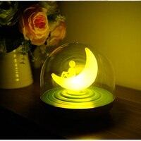 LED Moon Nightlight Vibration Touch Sensor Dimmer Table Lamp Luminaria Rechargeable Battery Baby Bedroom Sleep Night Light