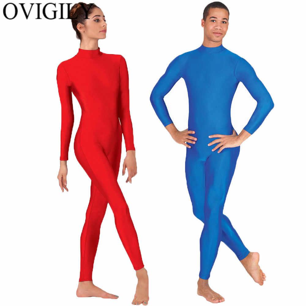 OVIGILY Spandex Coltrui Lange Mouw Footless Unitards Womens Nylon Een Stuk Zwart Dans Unitard Bodysuits Zentai Suits