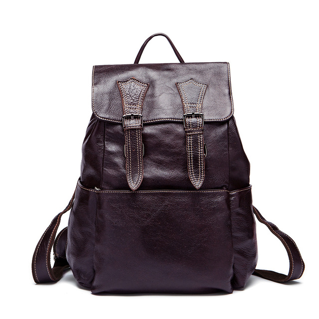 100% Genuine Leather laptop Backpack For Man Real Cowhide Large Male  Backpack Travel Rucksack Classic Unisex Brown Bag a3b20aa15acd2