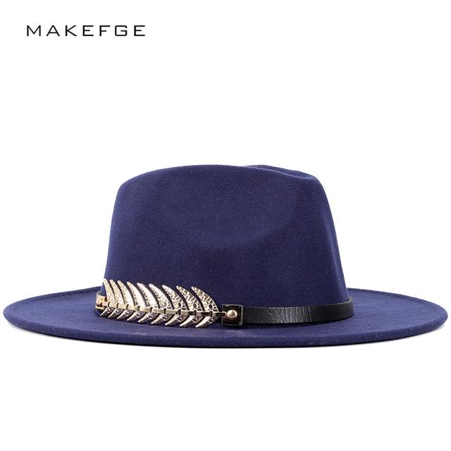 Hot Fashion Ladies Wool Wide Brimmed Fedora Hat Autumn Winter Woman s Top  Hat Felt Vintage Hats dfbbda8b7fdb