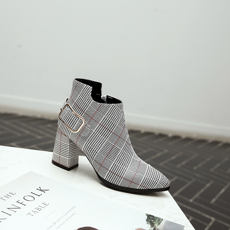 Women's Boots, Fashion Plaid Pointed Toe High Heels, Winter Ankle Boots 13