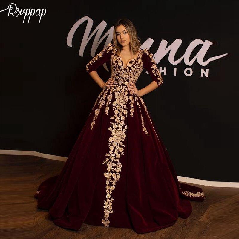 Long Evening Dress 2019 Elegant V-neck 3/4 Long Sleeves Golden Lace Arabic Burgundy Velvet Formal Women Evening Gowns