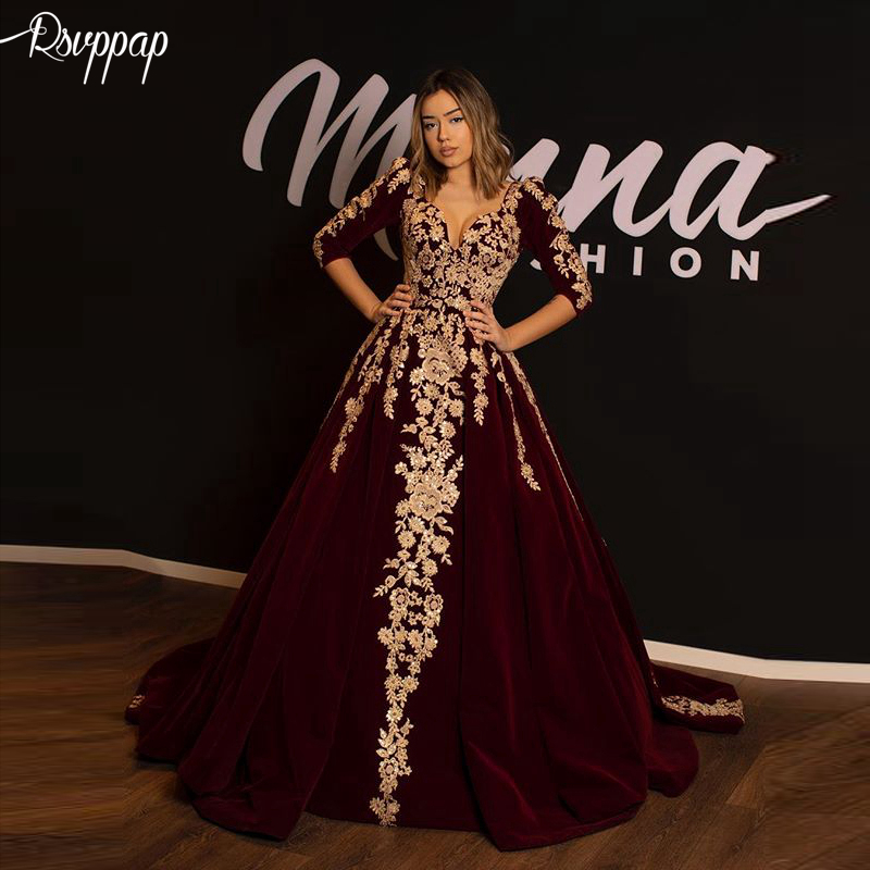 Long   Evening     Dress   2019 Elegant V-neck 3/4 Long Sleeves Golden Lace Arabic Burgundy Velvet Formal Women   Evening   Gowns