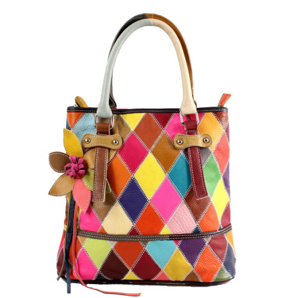 Designer tote bag for ladies high quality trendy genuine leather weaved plaid bags with strap fringe style multi colored handbagDesigner tote bag for ladies high quality trendy genuine leather weaved plaid bags with strap fringe style multi colored handbag