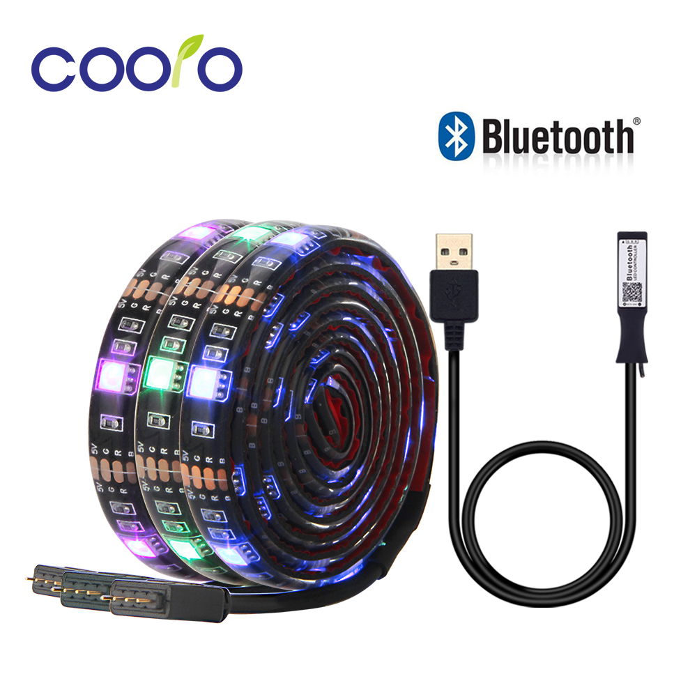 5V USB LED Strip 5050 RGB TV Background Lighting 30LEDs/m With Bluetooth Controller APP Control 50cm / 1m / 2m Set