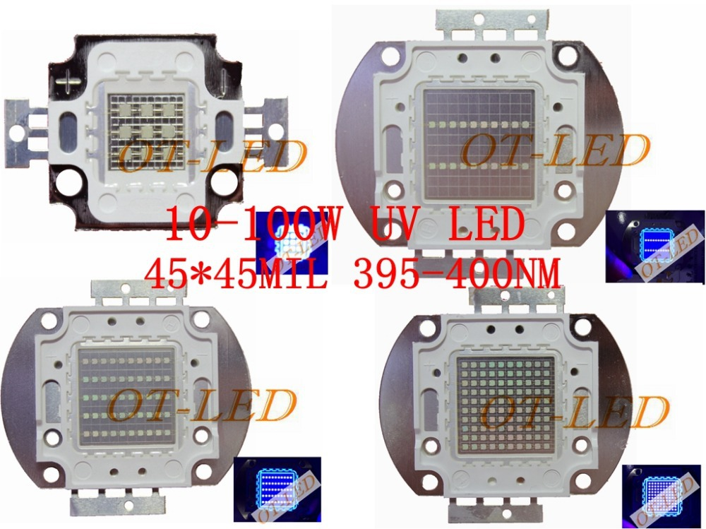3W 5W10W 20W 30W 50W 100W 45MIL UV LED Chip COB Purple Light 395nm 400nm Ultraviolet lamp Curing SMD htton uv purple led integrated chips 365nm 375nm 385nm 395nm 405nm high power cob ultraviolet lights 3 5 10 20 30 50 100 watt