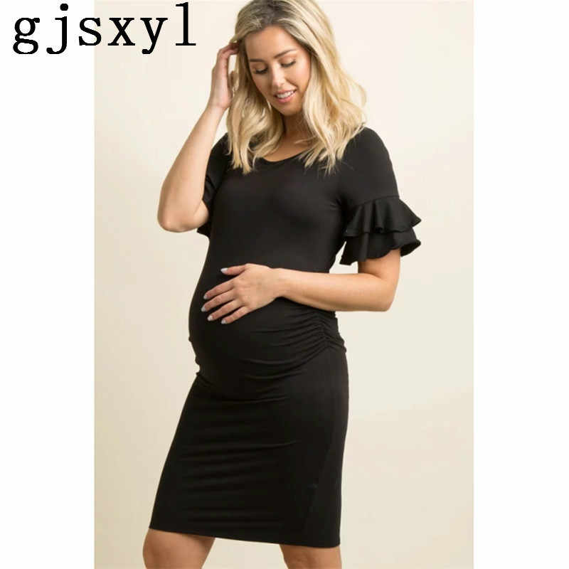 63b9dfb5502 Suit-dress Lotus Leaf Edge Horn Sleeve Round Neck Long Pregnant Woman Skirt  maternity dresses