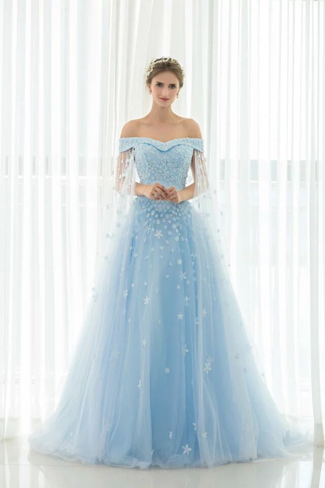 Real photos marvelous sky blue wedding dresses gowns for Blue long dress wedding